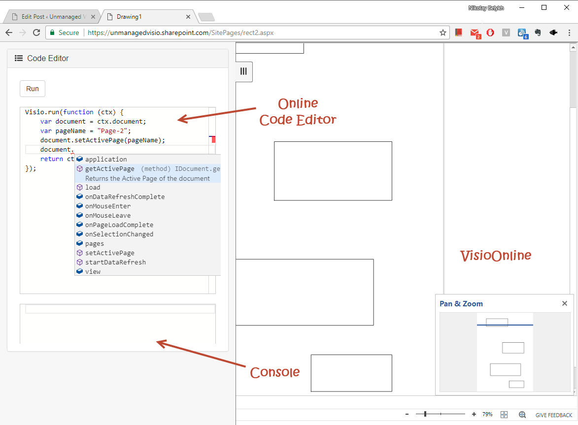 Using SvgPublish as Visio Online script playground