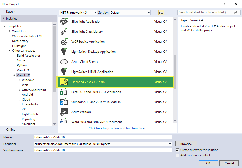 Visual Studio Addin project templates